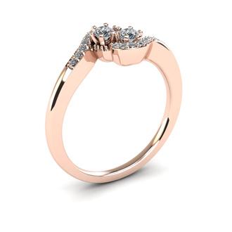 1/4 Carat Two Stone Diamond Swirl Ring In 14K Rose Gold