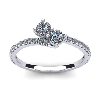 1/2 Carat Two Stone Diamond Bonded Love Ring In 14K White Gold