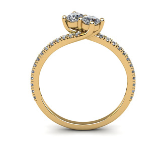 1/2 Carat Two Stone Diamond Bonded Love Ring In 14K Yellow Gold