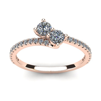 1/2 Carat Two Stone Diamond Bonded Love Ring In 14K Rose Gold