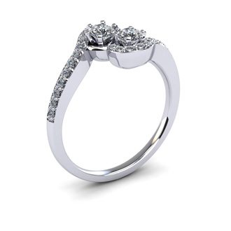 1/2 Carat Two Stone Diamond Swirl Ring In 14K White Gold
