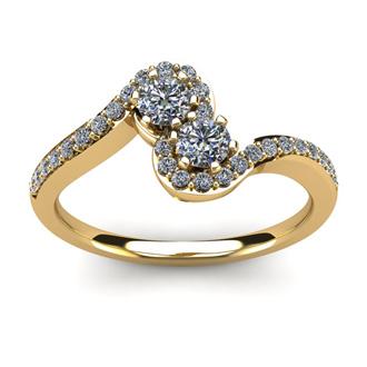 1/2 Carat Two Stone Diamond Swirl Ring In 14K Yellow Gold