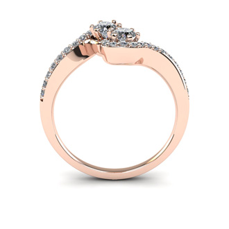 1/2 Carat Two Stone Diamond Swirl Ring In 14K Rose Gold