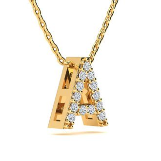 A Initial Necklace In Yellow Gold With 13 Diamonds