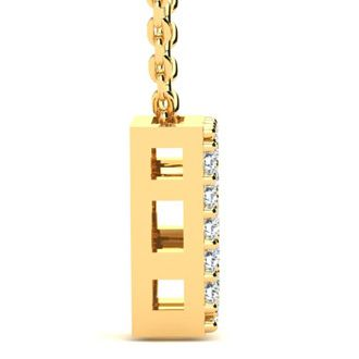 B Initial Necklace In Yellow Gold With 19 Diamonds