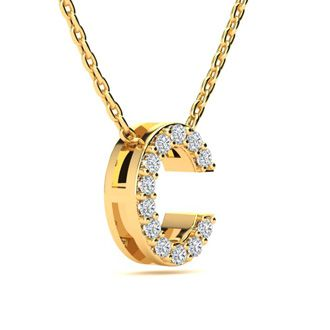 C Initial Necklace In Yellow Gold With 12 Diamonds