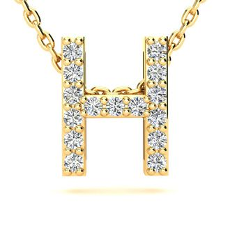 H Initial Necklace In Yellow Gold With 15 Diamonds