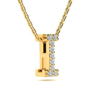 I Initial Necklace In Yellow Gold With 9 Diamonds