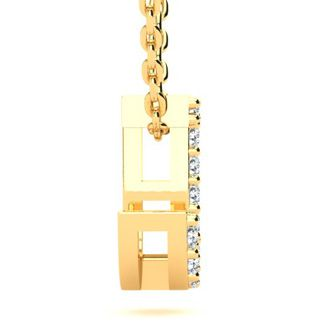 J Initial Necklace In Yellow Gold With 11 Diamonds