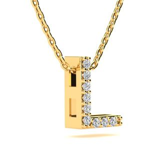 L Initial Necklace In Yellow Gold With 9 Diamonds