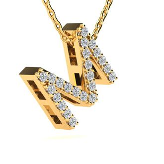 M Initial Necklace In Yellow Gold With 23 Diamonds