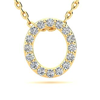 O Initial Necklace In Yellow Gold With 16 Diamonds