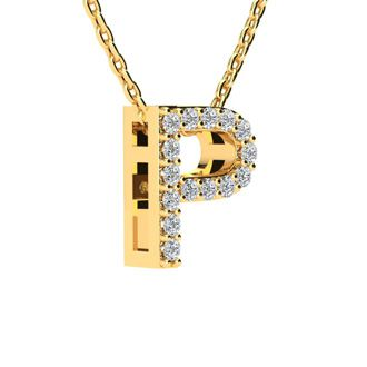 P Initial Necklace In Yellow Gold With 15 Diamonds