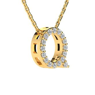 Q Initial Necklace In Yellow Gold With 17 Diamonds
