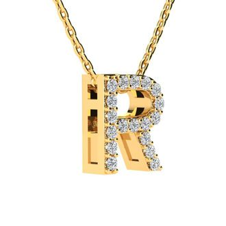 R Initial Necklace In Yellow Gold With 18 Diamonds