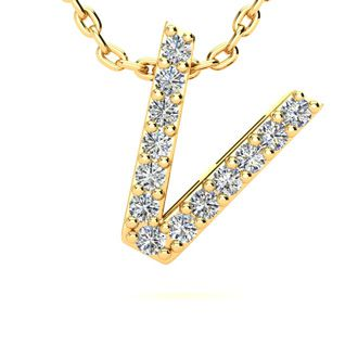 V Initial Necklace In Yellow Gold With 13 Diamonds