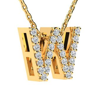 W Initial Necklace In Yellow Gold With 25 Diamonds