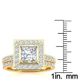 2 Carat Princess Cut Halo Diamond Bridal Set in 14k Yellow Gold