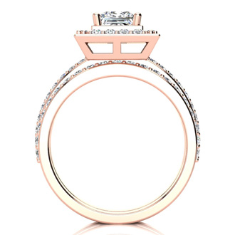2 Carat Princess Cut Diamond Bridal Set With 1 Carat Center Diamond in 14k Rose Gold