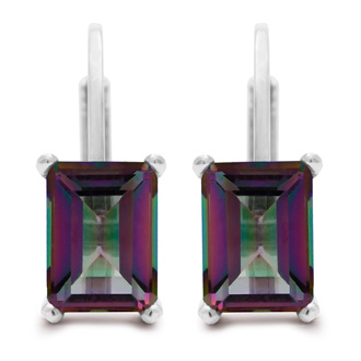 2 Carat Emerald Shape Mystic Topaz Earrings In Sterling Silver
