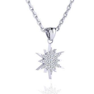 1/4 Carat Diamond Starburst Necklace, Sterling Silver, 18 Inches. Fiery Diamonds!