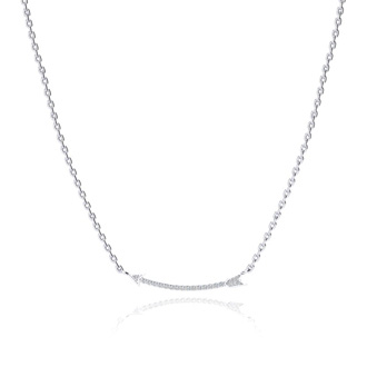Arrow Necklace With 20 Fiery Diamonds in Solid Sterling Silver, 18 Inches
