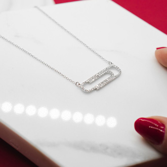 1/2 Carat Diamond Paperclip Necklace, Sterling Silver, 18 Inches