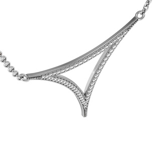 1/3 Carat Diamond Open Triangle Necklace, Sterling Silver, 18 Inches