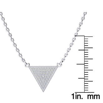Over 1/3 Carat Diamond Triangle Necklace, Sterling Silver, 18 Inches. Fiery Diamonds!