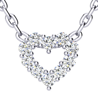 1/3 Carat Fine Diamond Heart Necklace in Solid Sterling Silver
