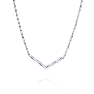 1/5ct V Bar Diamond Necklace, Sterling Silver, 18 Inches. Very High Quality.