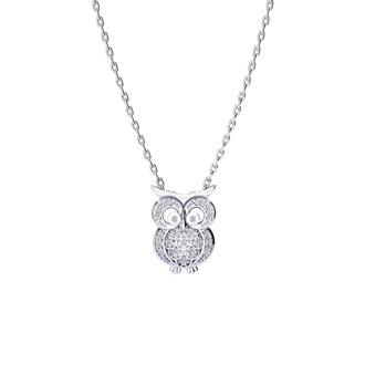 1/4 Carat Diamond Owl Necklace, Sterling Silver, 18 Inches