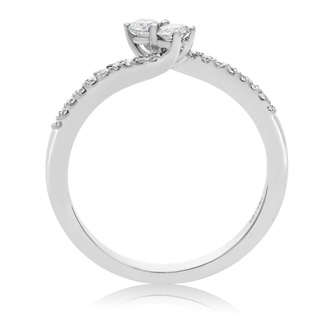 1/4 Carat Two Stone Diamond Bonded Love Ring In White Gold