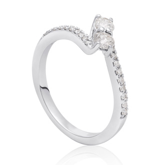1/2 Carat Two Stone Diamond Bonded Love Ring In White Gold