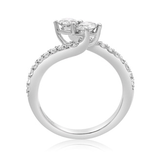 1 Carat Two Stone Diamond Bonded Love Ring In White Gold