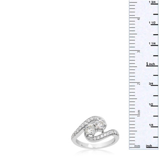 1 Carat Two Stone Diamond Swirl Ring In 14K White Gold