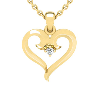 Yellow Gold Swirly Heart With Single Fiery 5 Point Diamond on 18 Inch Chain
