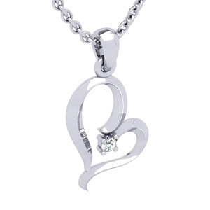 White Gold Reclining Heart With Single Fiery 5 Point Diamond on 18 Inch Chain