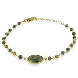 6 Carat Pyrite Bracelet in Sterling Silver with Gold Overlay