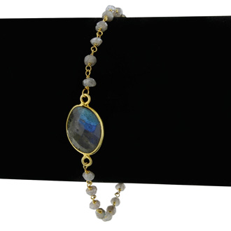 6 Carat Labradorite Bracelet in Sterling Silver with Gold Overlay