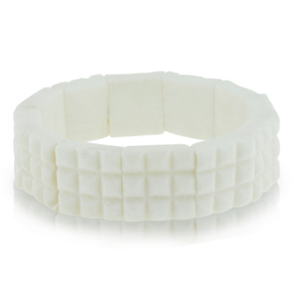 Enhanced White Coral Stretch Bracelet