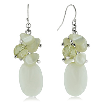 Mother of Pearl, Howlite, and Citrine Dangle Earrings, Sterling Silver