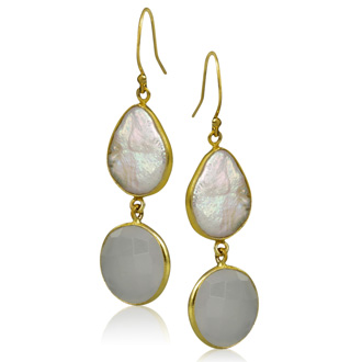 20 Carat Moonstone and Pearl Earrings in Sterling Silver with Gold Overlay