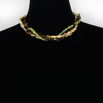 Natural Triple Strand Peridot, Smoky Quartz, and Lemon Crystal Necklace, Sterling Silver