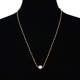 Dainty Pearl Strand Necklace in 18 Karat Gold Overlay, 24 Inches
