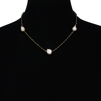 15 Carat Dainty Pearl and Black Spinel Strand Necklace in 18 Karat Gold Overlay, 18 Inches