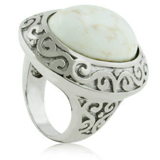 Oversized Howlite Statement Ring, Sterling Silver, Size 6.5