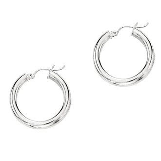 14 Karat White Gold Polish Finished 15mm Hoop Earrings With Hinge With Notched Closure
