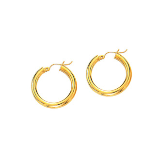 14 Karat Yellow Gold Polish Finished 20mm Hoop Earrings With Hinge With Notched Closure