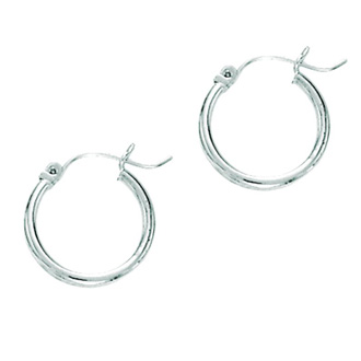 14 Karat White Gold Polish Finished 25mm Hoop Earrings With Hinge With Notched Closure